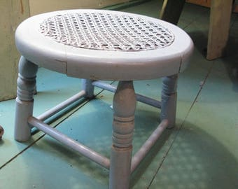 Rare Small Caned Footstool in Original Paint