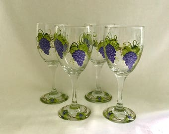 Free shipping Purple grape hand painted set of four wine glasses