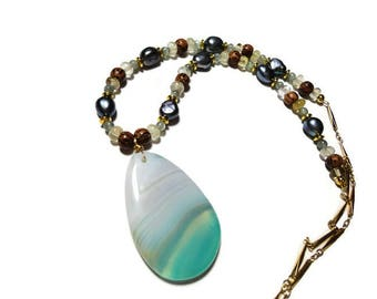 palmwood apatite pearl agate necklace