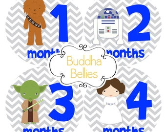 READY TO SHIP Star Wars Baby Boy Month Stickers Monthly Baby Stickers Chewbacca Baby R2D2 Baby - Baby Decals - Space Wars - Darth Vader Baby