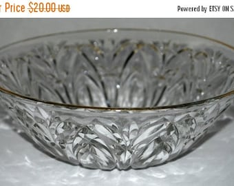 weekend sale cut glass bowl vintage glass bowl gold rim