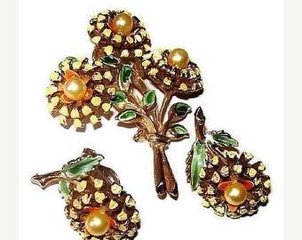 Flower Brooch Earring Demi Set Yellow Orange Green Enamel & Pearl Beads Vintage