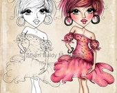 INSTANT DOWNLOAD Digital Digi Stamps Big Eye Big Head Dolls NEW My Besties img846 Fashionista Bestie By Sherri Baldy