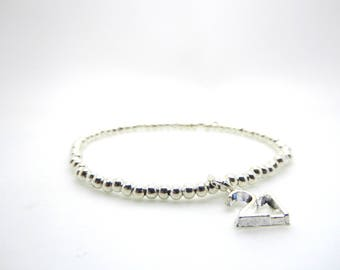 Silver Beaded Bracelet 21st Birthday Charm/Medium Size Stacking Stretch Bangle/Bridesmaids/Sister/Friend Gift//LR059B