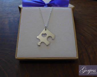 Silver Puzzle Piece - Puzzle Necklace - Corner Puzzle Piece - Jigsaw Pendant - Missing Piece