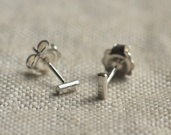 Sterling silver organic mini bar earrings