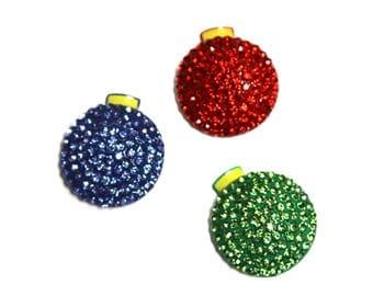 Metal Rhinestone Ribbon Sliders - Christmas Ornaments - Set of three - Choose your colors!