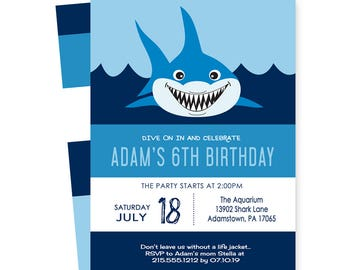 Shark Birthday Party Invitations for Boys - Printed with Envelopes - Nautical Baby Shower - Kids First Birthday - Beach Invites - Summer