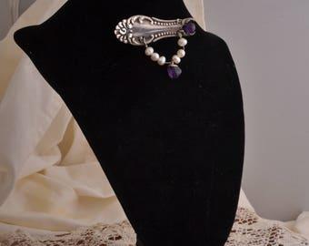 Vintage Silver Brooch with Amethyst & Pearls