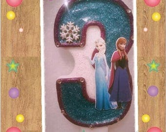 Disney Frozen Theme  Number Birthday Candle
