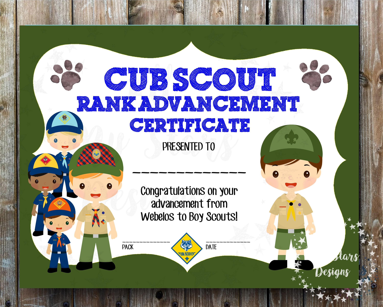 Cub Scout Rank Advancement Certificate Pack - 8.5x11 JPG ...