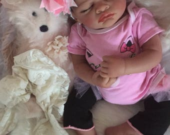 Completed Bi Racial Veronica Completed Reborn Baby Doll from the Aisha 20 inch kit