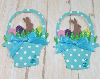 Two Easter Basket Scrapbook Embellishments, Easter Card Topper, Banner, Gift Tag