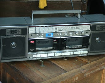 Panasonic Model RX-CW50 AM/FM Dual Cassette Boombox, 1980s, Electronic Tape Deck, Tape Player, Stereo