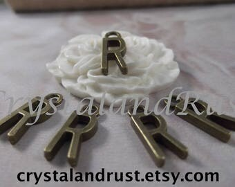 "5 Letter ""R"" Antique Bronze Charms --- Antique Bronze Color"