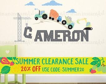 Custom Name Wall Decal | Trucks & Tractors | Custom Baby Nursery, Children's Room Interior Design | Easy Application | 004