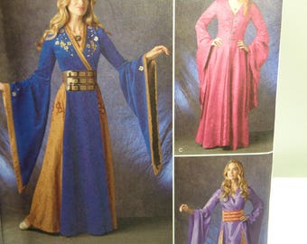 Renaissance  Maiden Costume Pattern-Fantasy Medieval Renaissance Dress-- Simplicity 1009- Sewing Pattern Size 14-22