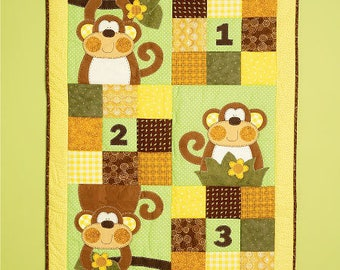 McCall's 6939  Sweet Chic Monkey Applique Baby Crib Nursery quilt Room Door Pillow New Uncut
