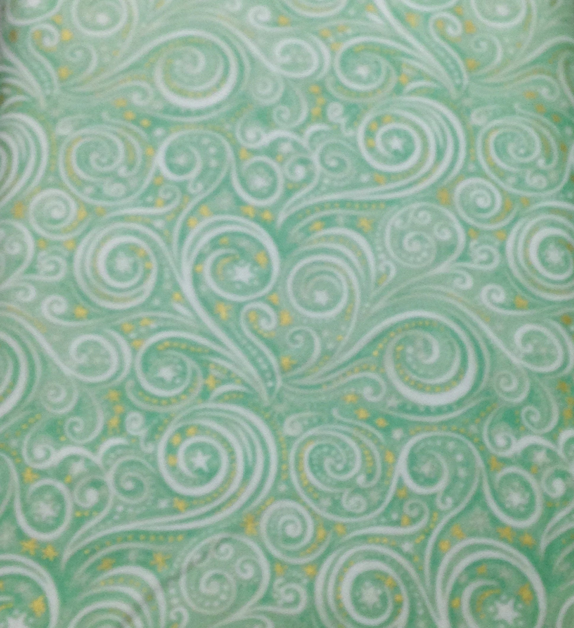 Swirl galaxy christmas metallic fabric mint green pink for Galaxy quilt fabric