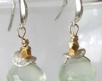 Prehnite Sterling Silver Vermeil Earrings