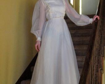 RESERVED Vintage 60's Petite Wedding Dress Sheer Sleeves