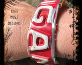 Michigan, License Plate, Cuff, Bracelet, Red, Repurposed, Upcycled, 1969, Created By : Kari Wolf Designs