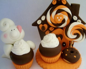 Ghost and Halloween Sweets - Polymer Clay - Halloween - Set of 2 - Figurines