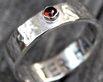 Personalized Sterling Silver Stone Ring - Custom Band with Ruby Stone