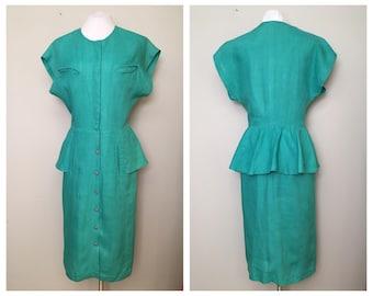 Seafoam Green Linen Pencil Skirt Peplum Dress