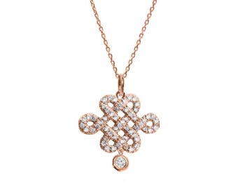 Diamond Pendant Necklace, Horizontal Tibetan Endless Love Knot With A Diamond Drop, 14K Rose Gold Necklace