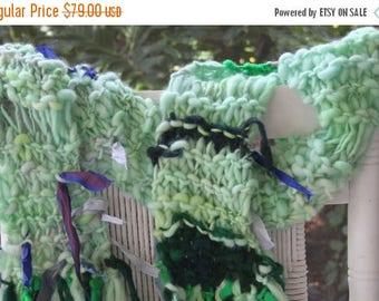 XMAS IN JULY up to 50%off Sale Hand Knit Bulky Scarf, named Easter Grass, in Green shades of Yarn with ribbon, locks, of Super Soft Handspun