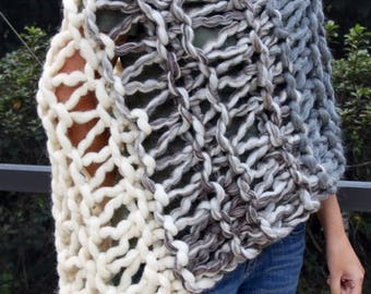 XMAS IN JULY up to 50%off Sale Hand Knit Bulky Shawl Poncho, in Natural Colors of Ivory and Gray mix, made of Super Soft Handspun Wool Yarn