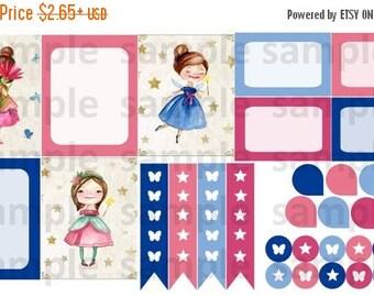 Mini Fairy Set #1, Planner Stickers,  Fairies, Fairy Tale, Blue, Pink, Full Box, Page Flag, Life Planner, Erin Condren, Plum Planner