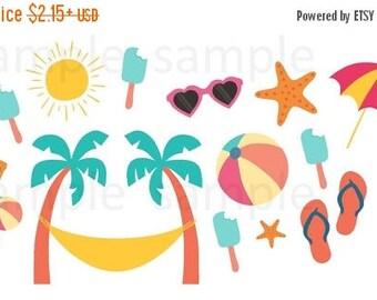 Beach, Planner Stickers, Mix, Set, Sun, Beach Ball, Umbrella, Sunglasses, Star Fish, Sandals, Summer, Hot, Erin Condren, Plum Planner,
