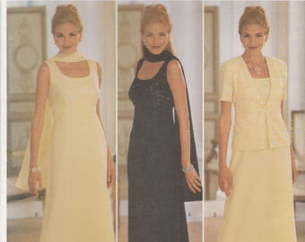 Simple Elegant Dress, Jacket & Scarf Pattern Butterick 5878 Sizes 14, 16, 18 Uncut