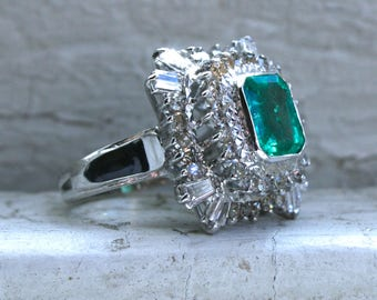 Retro Vintage 14K White Gold Diamond and Emerald Cluster Engagement Ring - 1.15ct.