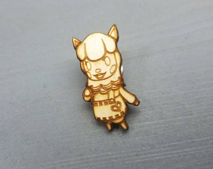 Animal Crossing Reese Pin | Laser Cut Jewelry | Wood Accessories | Wood Pin