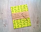 LARGE Zero Waste Beeswax Bio Cotton Wrap Green with Honeycombs / Bee Waxed Cloth cca 12 x 16 inch (30x40cm) / Food Wrap