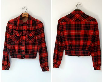 Vintage 1930s 1940s wool plaid tartan jacket, plaid crop jacket, xs small