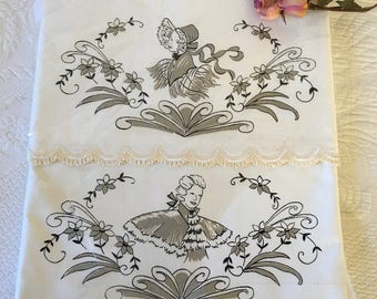 Vintage Victorian His and Hers Pillowcases. Pictures of a Lady and a Gentleman on the Pillowcases. All Cotton Percale Pillow Cases.