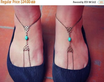 VACATION SALE turquoise and filigree slave anklet set, barefoot sandals, body jewelry, toe ring, unique anklet,
