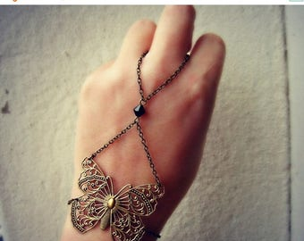 VACATION SALE butterfly hand chain, butterfly ring bracelet, butterfly hand piece, bracelet ring, slave ring, ring bracelet, slave bracelet