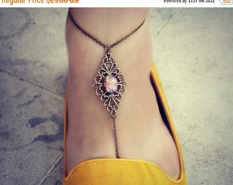 VACATION SALE pink opal filigree anklet (SINGLE), slave anklet, body jewelry, toe ring, unique anklet, barefoot sandal