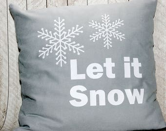 Let It Snow Pillow Cover, Holiday Pillow Cover, 16x16