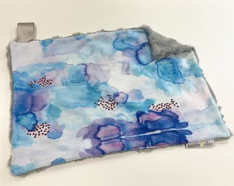 Blue Purple Watercolour Baby Girl MINKY Lovey Blanket, MINI Minky Baby Blanket, Taggie Blanket, Baby Bedding, Baby Lovey Blanket, Baby Gift