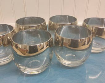 Vintage Hollywood Regency Set of Six Roly Poly Mercury Faded Glasses,