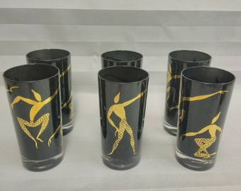 Vintage Mid Century Set of 6 Collins Glasses / Black with Gold Dancers Motif /  Hollywood Regency Barware.
