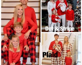 Organic Family Christmas pajamas top and pants sets gray red & white stripes baby toddler kids monogrammed PJs cotton Monogrammed PJs