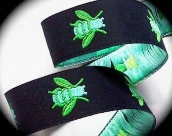 "Woven Ribbon - 7/8"" x  Navy, Turquoise and Lime  - Bumble Bee Ribbon"