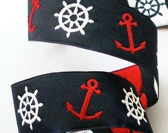 "Woven Ribbon -1"" Navy, Red, White  Wheels/Anchors - Nautical Ribbon"